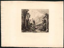 1889 Delauney Rare Eau-forte Paris couvent des cordeliers ruines Demachy gravure