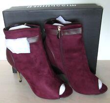 Miss Guided Pin Heel Peeptoe With Lock Ankle Boots Burgundy Side Zip N&B RRP £45