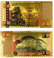 "★★★ ZIMBABWE : BILLET POLYMER  "" OR "" DU 1 CENTILLION DOLLARS  ★★★"