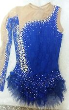 Rhythmic Gymnastics Leotard Blue  Swarovski  Crystals Handmade One Sleeve