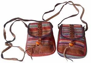FAIR TRADE NEPALESE GHERI TEXTILE & BUFFALO LEATHER PASSPORT SHOULDER BAG