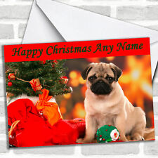 Pug Dog Xmas Christmas Customised Card