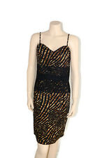 Womens Portmans Animal Print and Lace Spaghetti Strap Stretch Dress - Size 14
