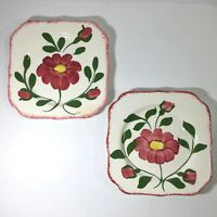 2 Blue Ridge Red Nocturne Square Bread & Butter Plates Southern Potteries
