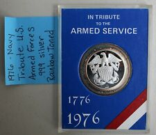 1976 Tribute Silver Navy Medal US Armed Forces .999 Silver Rainbow Toned K313