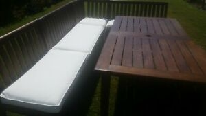 """NEW Pottery barn outdoor 38"""" banquette bench cushion CHATHAM Indio Natural white"""