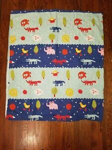 Rare IKEA Barnslig Natten Blue Striped Colorful Animal Crib Toddler Duvet Cover