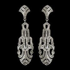 Silver Gatsby Art Deco Antique Vintage CZ Bridal Wedding Earrings