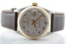 Rolex Mens Yellow Gold/SS Date - Silver Dial - Brown Strap