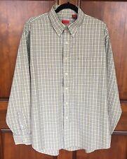 Cinch Western White Green & Blue Plaid Cotton Long Sleeve Shirt Men's Sz XL