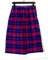 vtg 70s 80s Kensington Square Blue Magenta Plaid Wool A-Line Skirt sz 27 waist