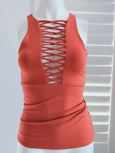 "KOOKAI Bodycon "" Lace Up "" Top XXS XS Size 1 6 8 Rust Burnt Orange Pumpkin"