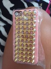 baby pink iPhone 5 case w/ GOLD STUDS for Apple