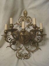 vintage lighting Hollywood Regency large 5 arm light candle wall sconce