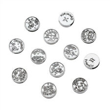 1 Set Constellations Zodiac Tibetan Style Alloy Flat Round Slide Charms 17x5mm