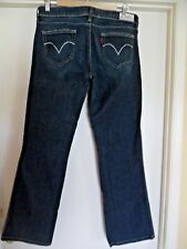 Womens Levis Night Blue Bling Distressed Blue Jeans Sz 8M