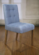 2 x Dining Chairs Blue 100% Linen French Provincial Oak Bedroom Chair Hardwood