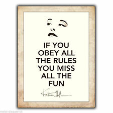 """METAL SIGN WALL PLAQUE KATHARINE HEPBURN """"OBEY ALL THE RULES"""" Quote print poster"""