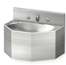 Acorn Penal Bathroom Sink With Faucet Stainless Steel Oval Bowl 1657-1-Bp-04-M