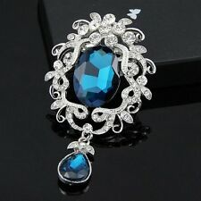 Big Silver Plated Vintage Inspired Blue Rhinestone Crystal Statement Brooch