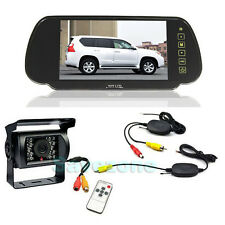 "Wireless Car Rear View Kit 7"" LCD Mirror Monitor + CCD Reversing Camera 18LED"