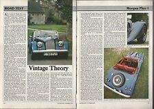 1988 MORGAN PLUS 4 Road Test article, Morgan roadster, from British auto magazin