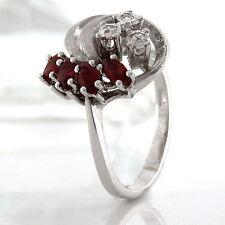 Markenlose Echte Edelstein-Ringe aus Weißgold mit Rubin