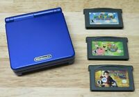 Nintendo Game Boy Advance SP Cobalt Blue WITH 3 GAMES Tested Working No Charger