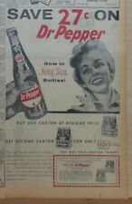 1956 newspaper ad for Dr. Pepper - Now in King Size bottle, Save 27 cents coupon