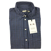 RM Williams Womens Olivia Shirt Blue Check Long Sleeve Button Front Size 8