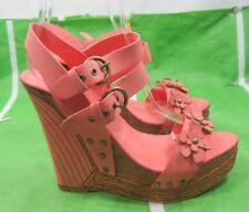 "new lady peach/blush 5""High Wedge Heel 1.5""Platform Open Toe Sexy Shoes Size 8.5"