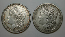2 X 1882 MORGAN SILVER DOLLAR COINS VERY NICE LUSTER AND DEFINITION