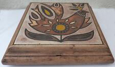 DESSOUS DE PLAT BOITE A MUSIQUE CADRE BOIS CARREAU 1970