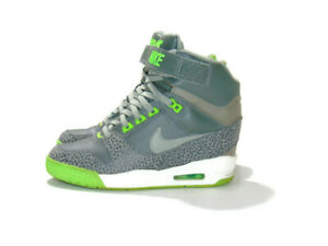 Nike Sneakers Gray Green Air Revolution Sky Hi Hidden Wedge Heel Womens 8 599410