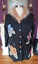 Storybook Knits  Black Sweater Faux Fur Collar & Floral Design  Size 1X   NNTGS