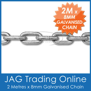 "2M x 8mm (5/16"") GALVANISED CHAIN REGULAR LINK - Boat Anchor Yacht Hot-Dipped"