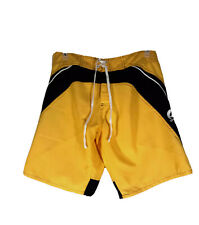 Corona Beer Men's Swim Trunks Lined Board Shorts Tied Waist Yellow Excellent M