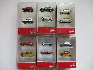 6x Herpa PKW Set 11, u.a. Taxi, Manta, NSU, Mini, Panda, Golf, MB Spur N 1:160
