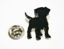 Black Dog Lapel Pin Badge - Nickel Plated With Black Enamel -15mm - L032
