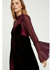 NWT FREE PEOPLE  Counting Stars Velvet Mini Dress Bell Sleeves  Wine Size XS