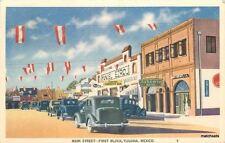 1939 Main Street First Block TIJUANA MEXICO Autos postcard 5180