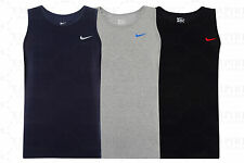 New Men's Nike Logo Vest Tank Top Sleeveless T-Shirt Singlet - Black Navy Grey