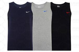 Men's Nike Logo Vest Tank Top Sleeveless T-Shirt Singlet - Black Navy Grey