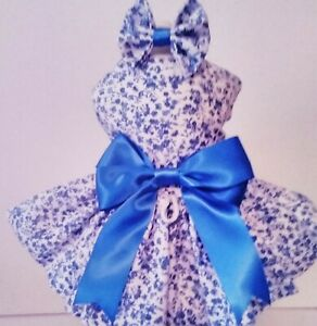 Dog Dress/Harness   BLUE CALICO   WITH  HAIR BOW  NEW  FREE SHIPPING