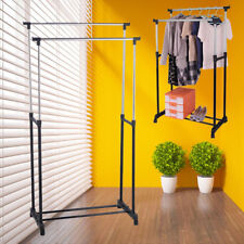 Double Heavy Duty Rail Adjustable Portable Clothes Hanger Rolling Garment Rack