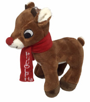 Rudolph Red Nosed Reindeer Plush Toy Christmas Deer Scarf Children Collect NEW