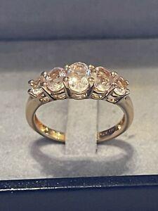 Silber Ring Morganit Rosa Edelstein 925 Silber Rosé Vergoldet rar Vintage