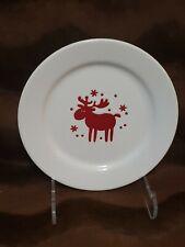 "WAECHTERSBACH Fun Factory White Red Reindeer Plate Germany 8 1/4"""