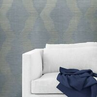 Wallpaper blue gray gold textured diamond geometric faux grasscloth fabric lines