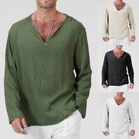 Men's T-Shirt Cotton Linen Thai Hippie Shirt V-Neck Beach Yoga Top Blouse Summer